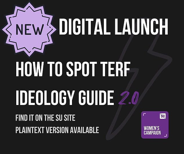 'How To Spot TERF Ideology' accuses feminists arguing against this as being 'transphobic' and linked to the 'far right'