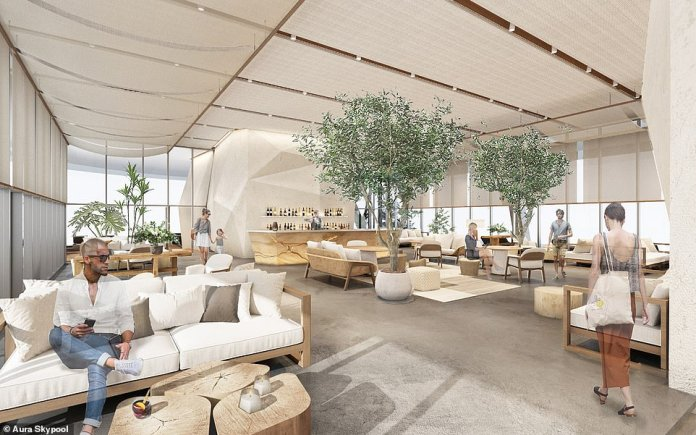 Pictured is the indoor lounge.Natural materials, stone and concrete were implemented in designing the space