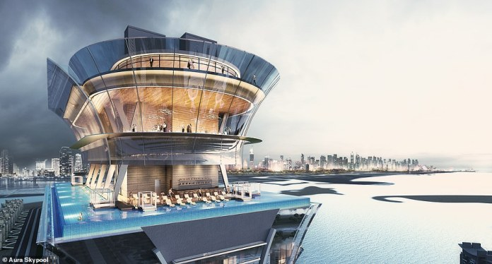 Renderings show the water will wrap around a 750-square-metre (8,000 sq ft) deck, with loungers dotted along the poolside