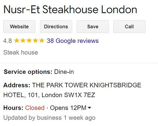 Google reviews currently show a 4.8 star rating - with the site stating it was 'updated by the business a week ago.