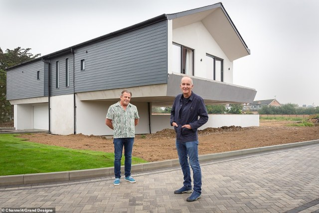 Geoff (pictured left, with Kevin McCloud, right) sees no risk in sinking every penny he has into his unusual building and moves into a small caravan on site