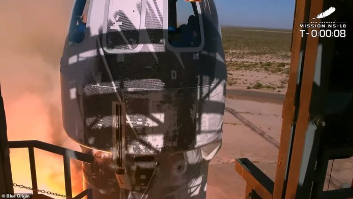Blue Origin's rocket took off just after 10:45 a.m. ET from the company's Launch Site One facility in Van Horn, Texas.
