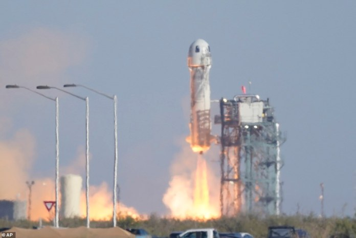 The crew soared more than 350,000 feet from space within a little more than three minutes after the rocket was launched