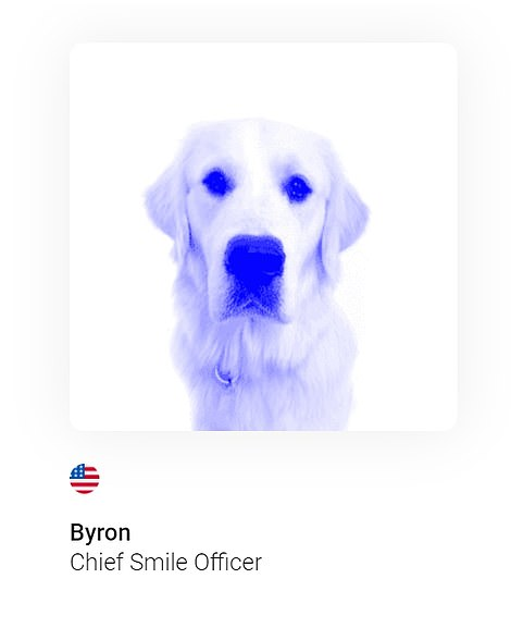 Ethic's 'staff' included a number of dogs, including Roux and Gigi, apparently responsible for 'security', and Byron, pictured, who is named 'Chief Smile Officer'