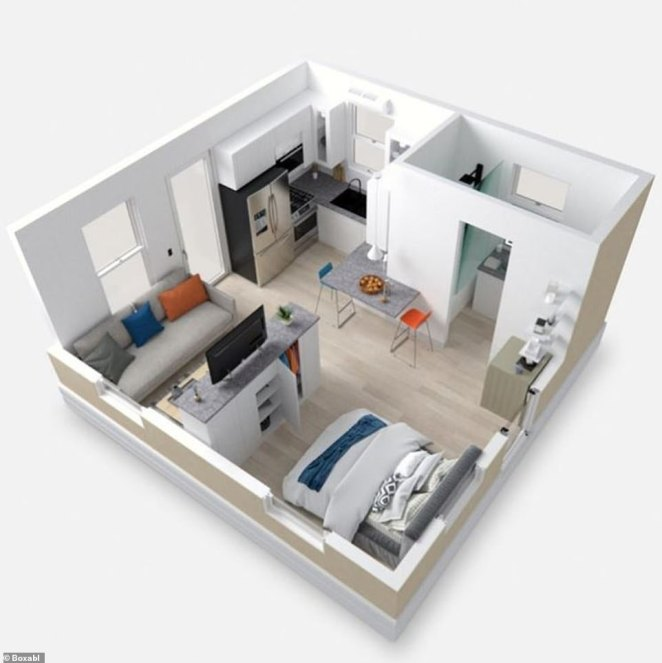 The company's homes are tiny but stylish, set up like a studio apartment with an open plan living area, kitchen and bedroom, with an adjacent bathroom(Pictured: A Boxabl Casita similar to the one Musk is said to be renting)