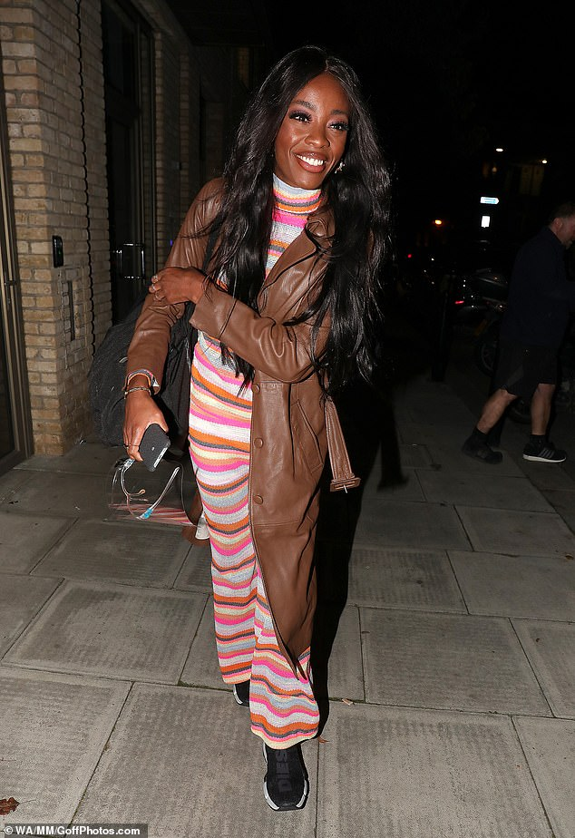 Looking lovely: AJ Odudu was also seen leaving the show