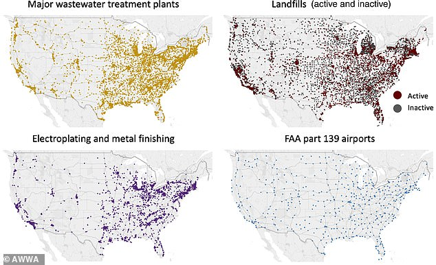Maps showing common sites of 'forever chemical' pollution across the US, including landfills, wastewater treatment plants, airports and electroplating and metal-finishing facilities