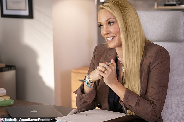 She is back: Elizabeth Berkley as Jessica Spano; she plays a school counselor