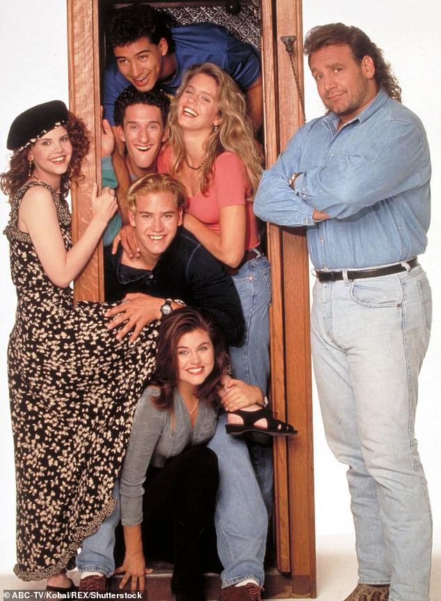 Back in the day: The first series aired from 1989 until 1993. Seen here is the late Dustin Diamond with Mark-Paul Gosselaar, Mario Lopez and Tiffani Thiessen, among others