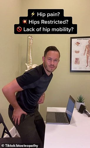Mr Talbot (pictured) says you can instantly reduce tightness by sitting on the floor with your legs stretched straight in front of you, then opening and closing them while keeping them raised a few centimetres off the ground