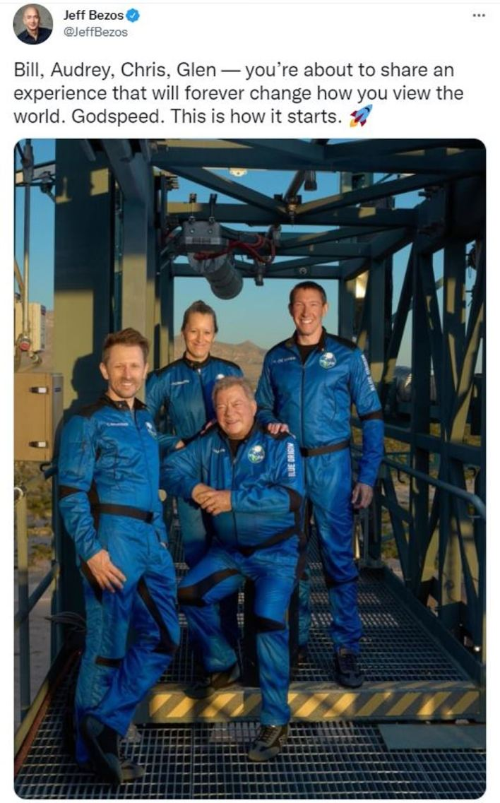The crew, which also includes Chris Boshuizen, Glen de Vries and Audrey Powers, launched Blue Origin's 60-foot-tall New Shepard rocket at 10am ET from the company's Launch Site One in Van Horn, Texas