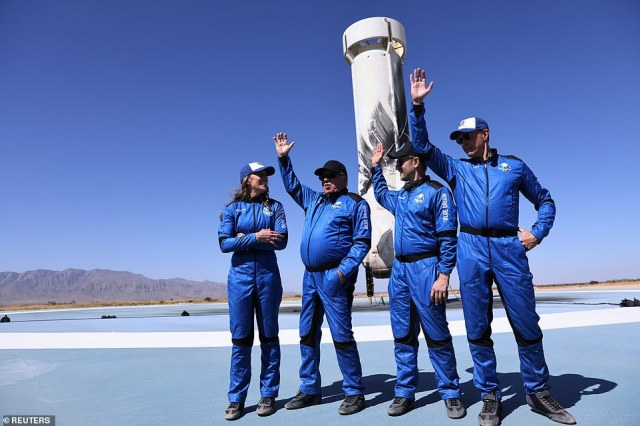 NS18 took off at 10:49am ET, but was back on the ground by 10:59am ET and although the trip lasted for just 10 minutes and 17 seconds, the crew will likely remember it for a lifetime. Picture (L-R) isAudrey Powers, Blue Origin's vice president of mission and flight operations and a former NASA flight controller and engineer; Chris Boshuizen, the co-founder of satellite company Planet Labs and a former space mission architect for NASA; and Glen de Vries