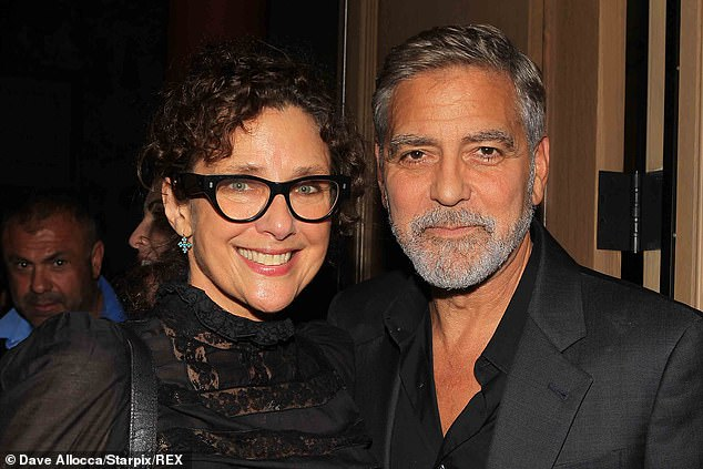 Making the rounds: Clooney also had a moment to chat with filmmaker and novelist Rebecca Miller, who's the wife of acclaimed actor Daniel Day-Lewis