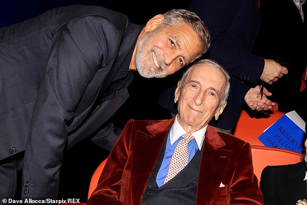 Making the rounds: Clooney also stopped to chat with writer and journalist Gay Talese