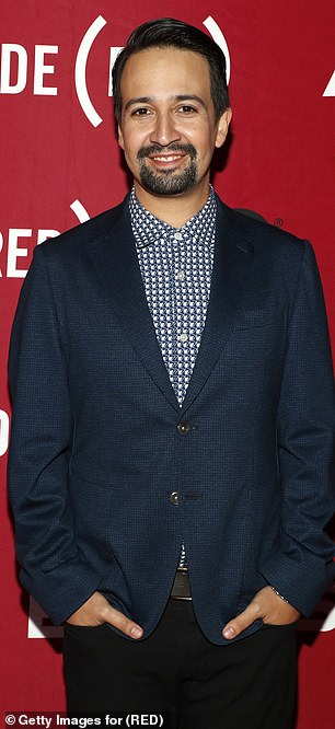 Dapper: Hamilton's Lin-Manuel Miranda looked dapper in a navy jacket and black pants as she prepared for Wednesday night's event in the city