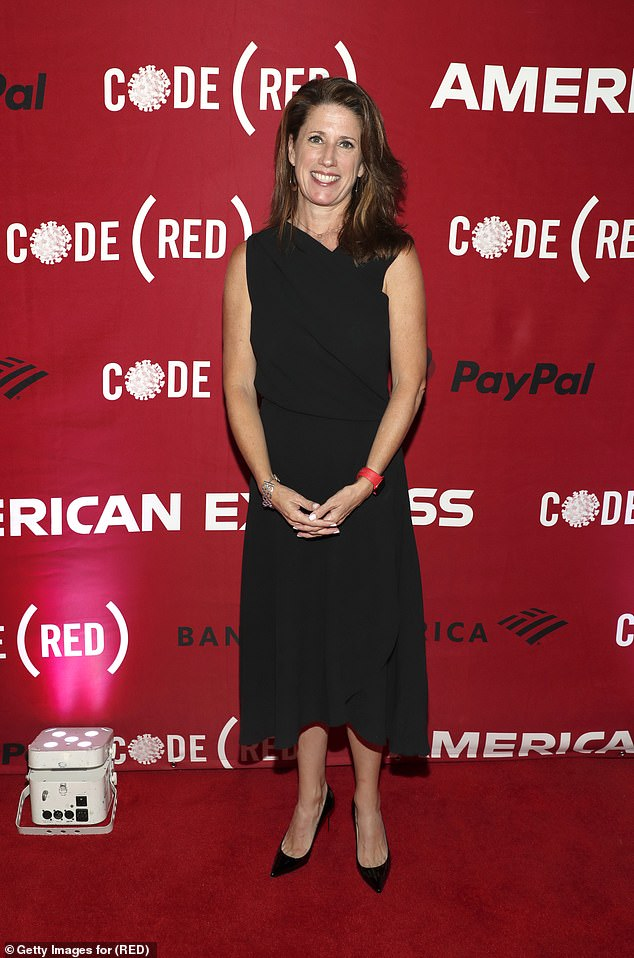 Radiant: President and COO (RED) Jennifer Lotito beamed with pride as she posed on the launch's bright red stage-and-rehearsal in a black midi dress and matching stiletto heels