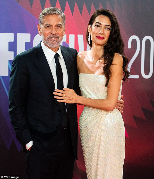 Love of his life: Clooney had his wife, Amal Clooney, by his side for the world premiere of The Tender Bar during the 65th BFI London Film Festival at The Royal Festival Hall on October 10