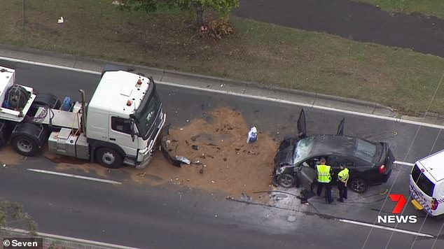 Three people have been killed and five others are in a serious condition after a car smashed into a truck on the Gold Coast (pictured)