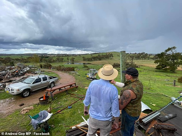 Andrew Gee (left), the member for Calare, posted a series of photos of Mr McKinnon (right), his partner Anne and the damage to their home in the days following the tornado