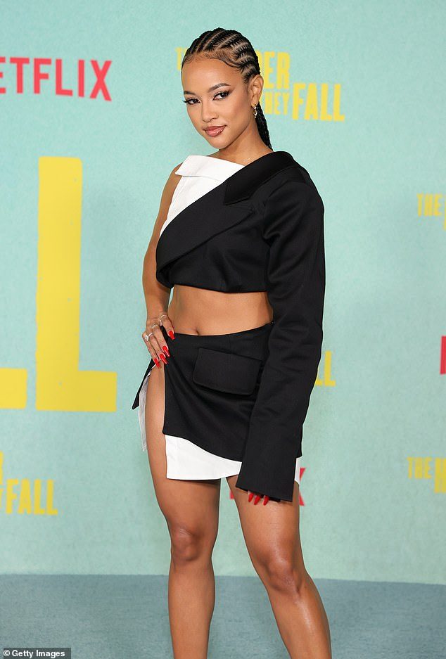 Pretty:Her brunette tresses were pulled back into cornrows which showed off her natural looks