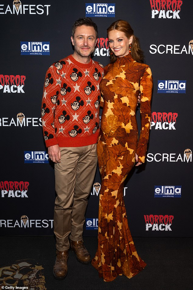 Special screening: Chris Hardwick and wife Lydia Hearst attended the 2021 Screamfest Horror Film Festival screening of Aileen Wuornos: American Boogeywoman at the TCL Chinese 6 Theatres on October 13, 2021 in Hollywood