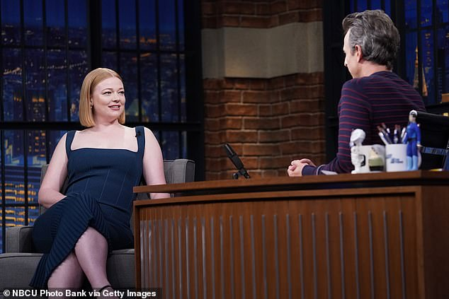 No turtleneck:'I mean, I've got the red hair but I can't wear turtlenecks or high waisted pants anyway because I look like I'm on Halloween costume,' she added, which Meyers compared to, 'an athlete wearing his uniform out'
