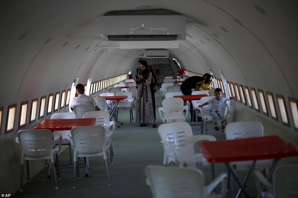 The plane has been transformed into an eaterie by twin brothers Khamis al-Sairafi and brother Ata