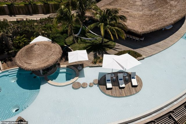 The main house on The Point Estate features an infinity pool, pictured above, with views of the Caribbean Sea