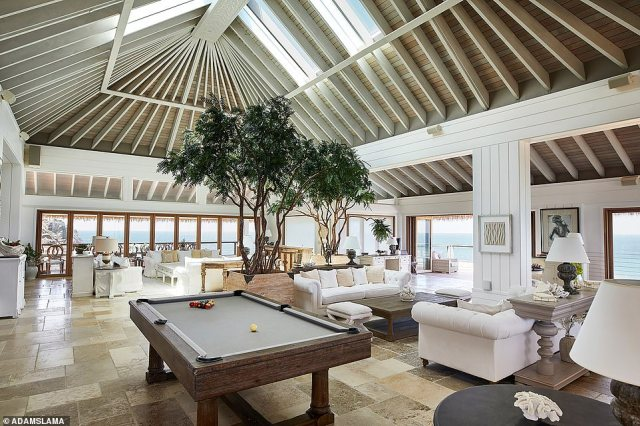 A living area in Headland House. The Branson Estate is based beside the island's communal recreational facilities