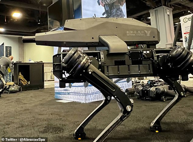 A robot dog design armed with a 6.5 mm Creedmoor sniper rifle (pictured) capable of precisely hitting targets from 3,940 feet away has been unveiled at the US Army trade show
