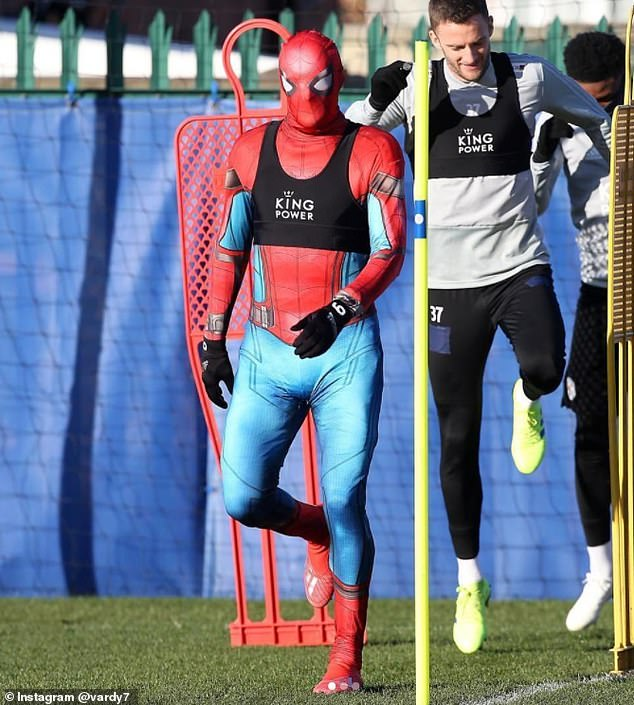 During a three-day mid-seasonalcohol-fuelled break partying in Stockholm, Vardy (pictured in training dressed as Spiderman) played pranks on the locals while in fancy dress