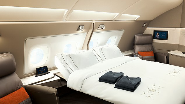 Singapore Airlines has confirmed that its Airbus A380 aircraft will be back from November 19. Pictured is one of its stunning suites, which features a double bed
