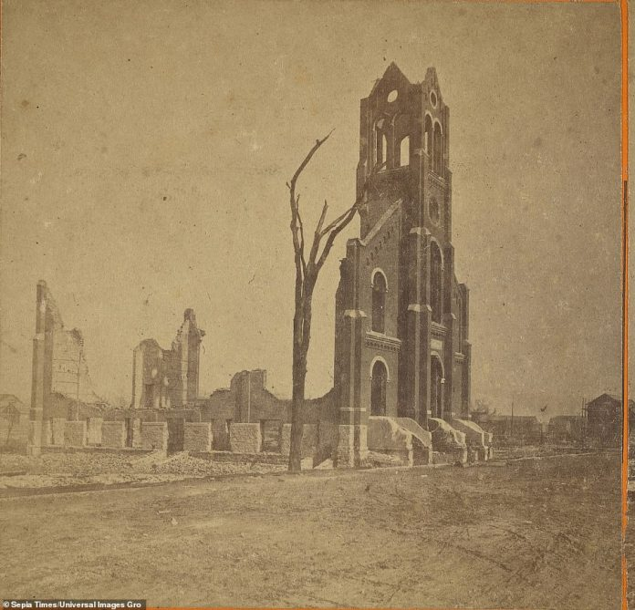 The St. Alphonsus Church on West Wellington Avenue in Chicago is seen left after it was destroyed by the fire