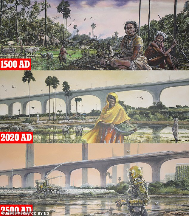 Leading researchers from McGill University predict that by the 2500s, the Amazon will be barren, the US Midwest tropical and India to live in extreme heat. Photo: India moved 521 years ago from a busy agricultural setting How to reflect the rural team today (middle) multiple built-up landscaping with infrastructure and how it can finally look towards 2500 under a high greenhouse gas scenario For (all).  Here, farming is done by autonomous robots while people need special protective equipment to escape the heat.