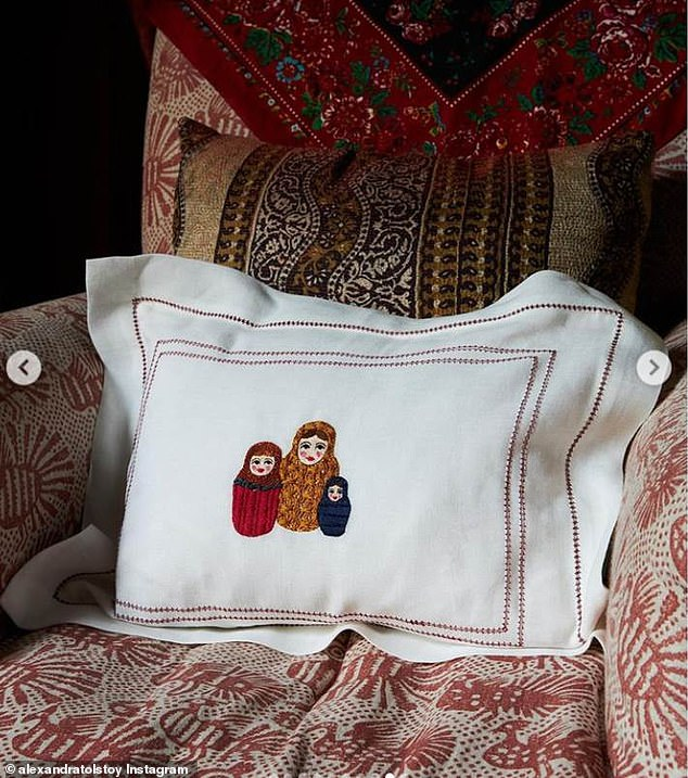 Taking to Instagram as she expands her interiors business, The Tolstoy Edit, Alexandra shared pictures of the hand-stitched napkins and pillowcases featuring Russian Dolls