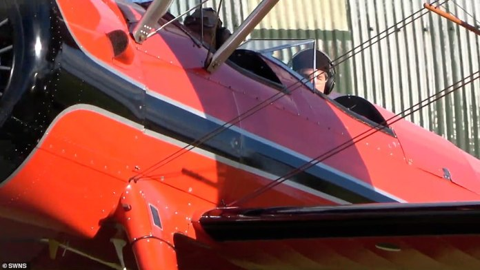 here is my!  The video showed him taking to the sky four times as he flew in small circles around the runway in windy conditions at Duxford Airfield in Cambridge on 29 September