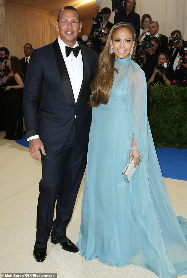 Yikes: Her engagement news comes months after she was alleged to have caused a rift between Alex Rodriguez and Jennifer Lopez; the former couple pictured on May 1, 2017 at the Met Gala