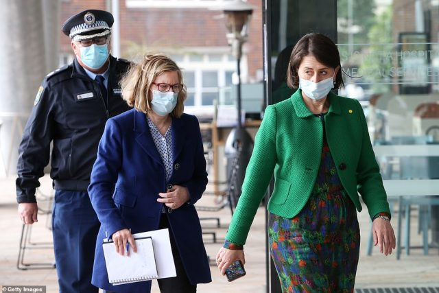 NSW Health made the approach to NSW Police to ask for their assistance with Covid compliance for drivers on June 10 (pictured, premier Gladys Berejiklian and NSW Chief Health Officer Dr Kerry Chant on June 24 arriving at a media conference when the outbreak began)