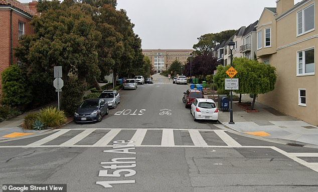 The mysterious sightings are coming from the end of 15th Avenue (pictured), where up to 50 of the self-driving cars appear to be confused as they enter the area