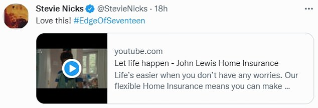 The advert also shows the boy picking up an umbrella and hurling it at an ornament while Stevie Nicks' Edge of Seventeen plays in the background. Nick tweeted this in support of the ad