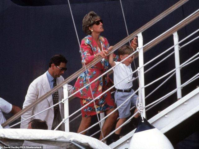 Earlier this week, the four actors were sported boarding the prestigious Christina O yacht off the shore of the Balearic Island, in scenes recreating the royal family's trip to Italy in 1991 (pictured) - which took place a year before the couple divorced