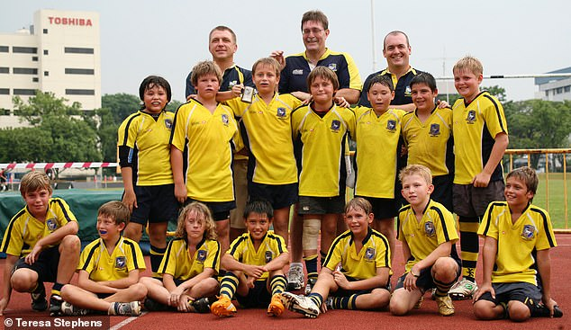 Smith is pictured above with Centaurs,having won the Bintang 10s Cup tournament aged 12