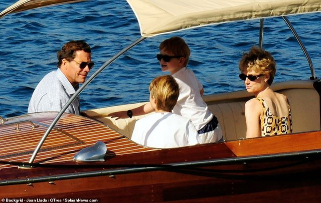 Child actor Timothee looked just as much the part in a Tommy Hilfiger top, while Teddy (pictured on the boat) donned a white top, black sunglasses and matching watch for the family boat trip