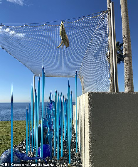 Gross says that the net was vital to protect the sculpture from hazards such as falling palm fronds