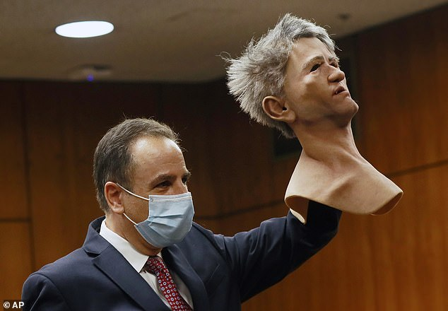 Prosecutor Habib Balian showed jurors a latex mask that Durst was found with when he was arrested at a New Orleans hotel in March 2015