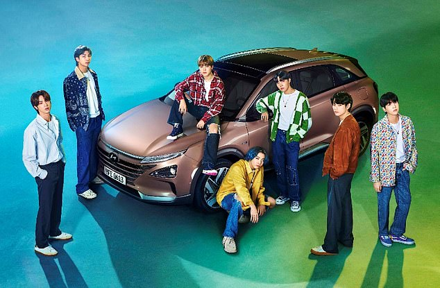 Clean cut: Hyundai turned to K-Pop band BTS to help launch its Nexo hydrogen fuel-cell powered SUV (pictured)