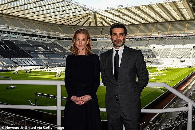 Staveley and husband Mehrdad Ghodoussi inside St James' Park after last week's takeover