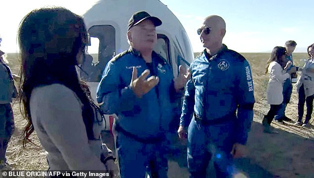 William Shatner (centre), who is famed for his role as Captain Kirk in the 1960s sci-fi series, ventured 351,186 feet above Earth's surface where he spent three minutes in weightlessness with astronauts Chris Boshuizen, Glen de Vries and Audrey Powers