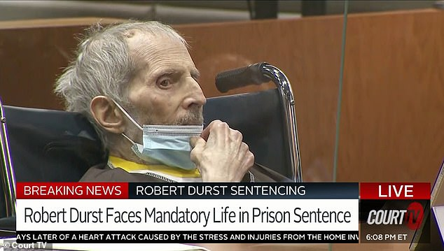 The judge during the sentencing described the crime as 'brutal' as Durst watched stoically