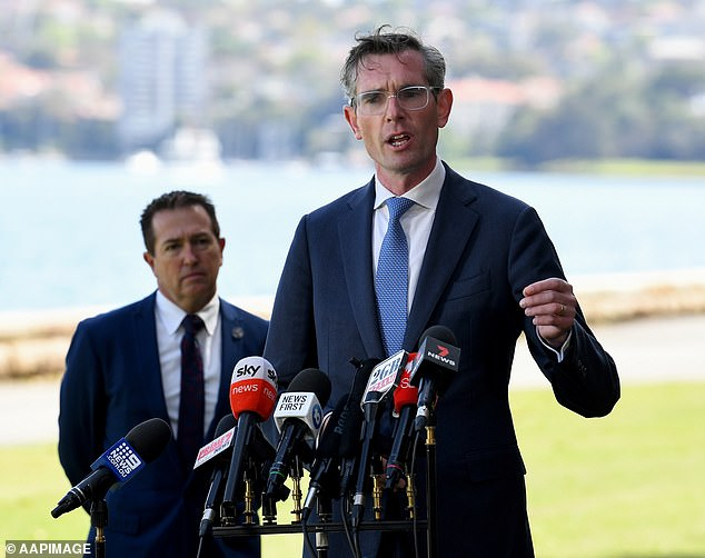 NSW Premier Dominic Perrottet speaks to the media during a press conference in Sydney, Friday October 15